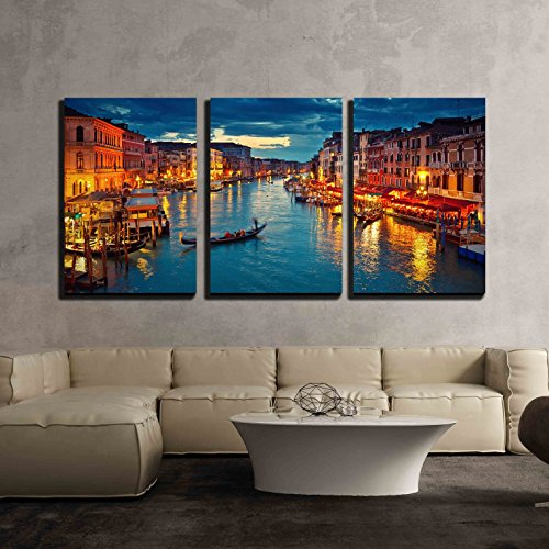 wall26 - 3 Piece Canvas Wall Art - View on Grand Canal from Rialto Bridge at Dusk, Venice, Italy - Modern Home Decor Stretched and Framed Ready to Hang - 24
