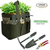 KOONEW Garden Tools Set,Ergonomic Garden Tool Kit Includes Pruning Shear,Trowel,2 in 1 Culti-Hoe with Durable Non-Slip Handle Storage Garden Tote Bag