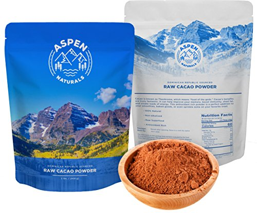 Aspen Naturals Raw Cacao Powder - 2lb Unsweetened Cocoa for baking, smoothie mix, hot chocolate, and guilt free treats. Single source from Latin American Farm with Mineral Rich Volcanic Soil