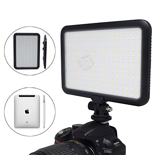 Mcoplus 0.6''/1.5cm Ultra Thin 204-LED 10W 5600K/3200K LED Video Light Dimmable Flat Panel On-camera Light Pad for Canon Nikon Sony Pentax Olympus Samsung Panasonic JVC DSLR Cameras DV Camcorders by Mcoplus