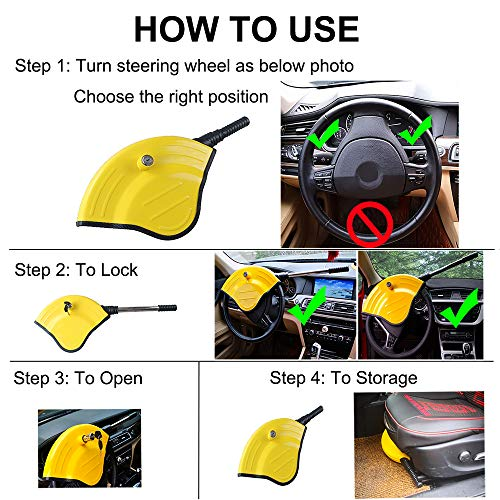 Oklead Universal Car Steering Wheel Lock - Full Cover Airbag Anti Theft Locking Device For Car Suv Pickup With 2 Keys by Oklead (Image #1)