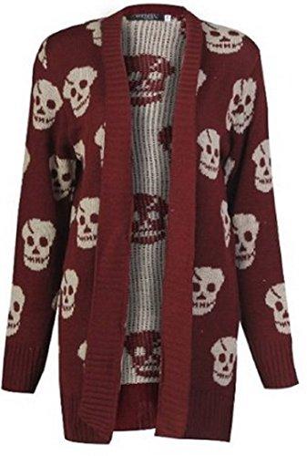 Miss High Street Skull Print Open Knitted Cardigsn (XXL (US18-20) (20-22), Wine)