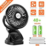 COMLIFE Battery Operated Clip on Portable Fan with 4400mAh Power Bank Feature, Rechargeable Battery Personal Cooling Fan for Baby Stroller, 6-32 Hours Working Time,Stepless Regulation,Strong Airflow