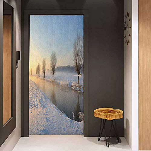 Toilet Door Sticker Winter Snowy River Landscape Barren and Frosted Trees Dutch Netherlands Europe Photograph Glass Film for Home Office W17.1 x H78.7 Multicolor