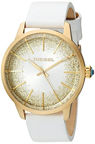 Diesel Women's 'Castilia' Quartz Stainless Steel and Leather Casual Watch, Color:White (Model: DZ5565)