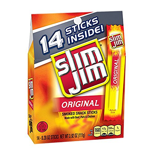 Slim Jim Snack-Sized Smoked Meat Stick, Original Flavor, 3.92 Oz. (14 Count)