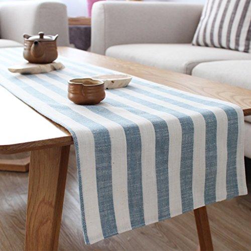 light blue and white table runner - 2