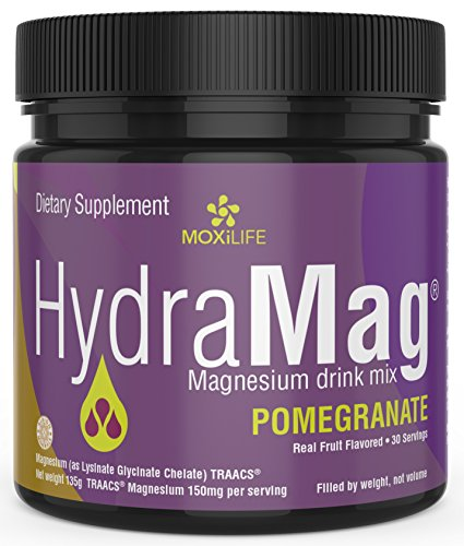 MOXiLIFE HydraMag 100% Chelated Magnesium Supplement: GI Friendly Magnesium Lysinate Glycinate Chelate Sports Nutrition & Dietary Powder – High Absorption Powdered Drink Mix – 30 Servings, Pomegranate
