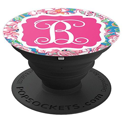 Personalized Pop Socket B Initial - Hot Pink Charm Flowers - PopSockets Grip and Stand for Phones and Tablets