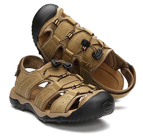 Liveinu Mens Sandales Athlétique Sport Cuir Sandale Près-toe Chaussures De Plage Kaki