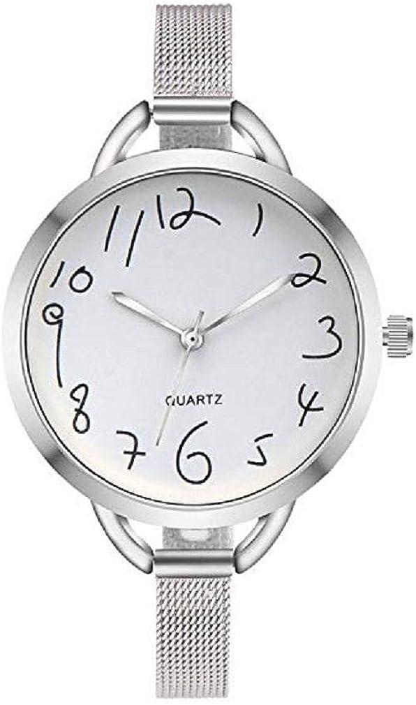 Reloj De Señoras De Moda,Scpink Reloj De Cuarzo Elegante Reloj De Acero Inoxidable ÚNico Dial Redond Ventana De Cristal Reloj Digital Correa De Malla Fina De Acero Inoxidable Reloj