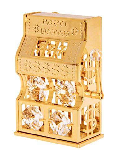 24k Gold Plated Figurine with Swarovski Crystals - Collectible Home Decor (Slot Machine)