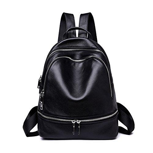 女性のためのバックパックカジュアルファッション本物の革シンプル大容量旅行学校カレッジ多機能ハンドバッグ黒31 * 25 * 11センチメートル   B07GDYH5T1