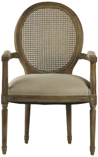 (Zentique Medallion Arm Chair with Cane Back, Limed Grey/Oak/Natural Linen)