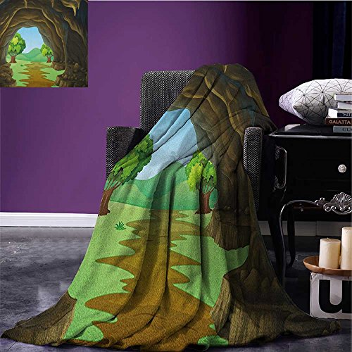 Cave survival blanket Rock Shelter in Countryside with Distant Hills Green Trees and Lawn space blanket Pale Brown Green Pale Blue size:59