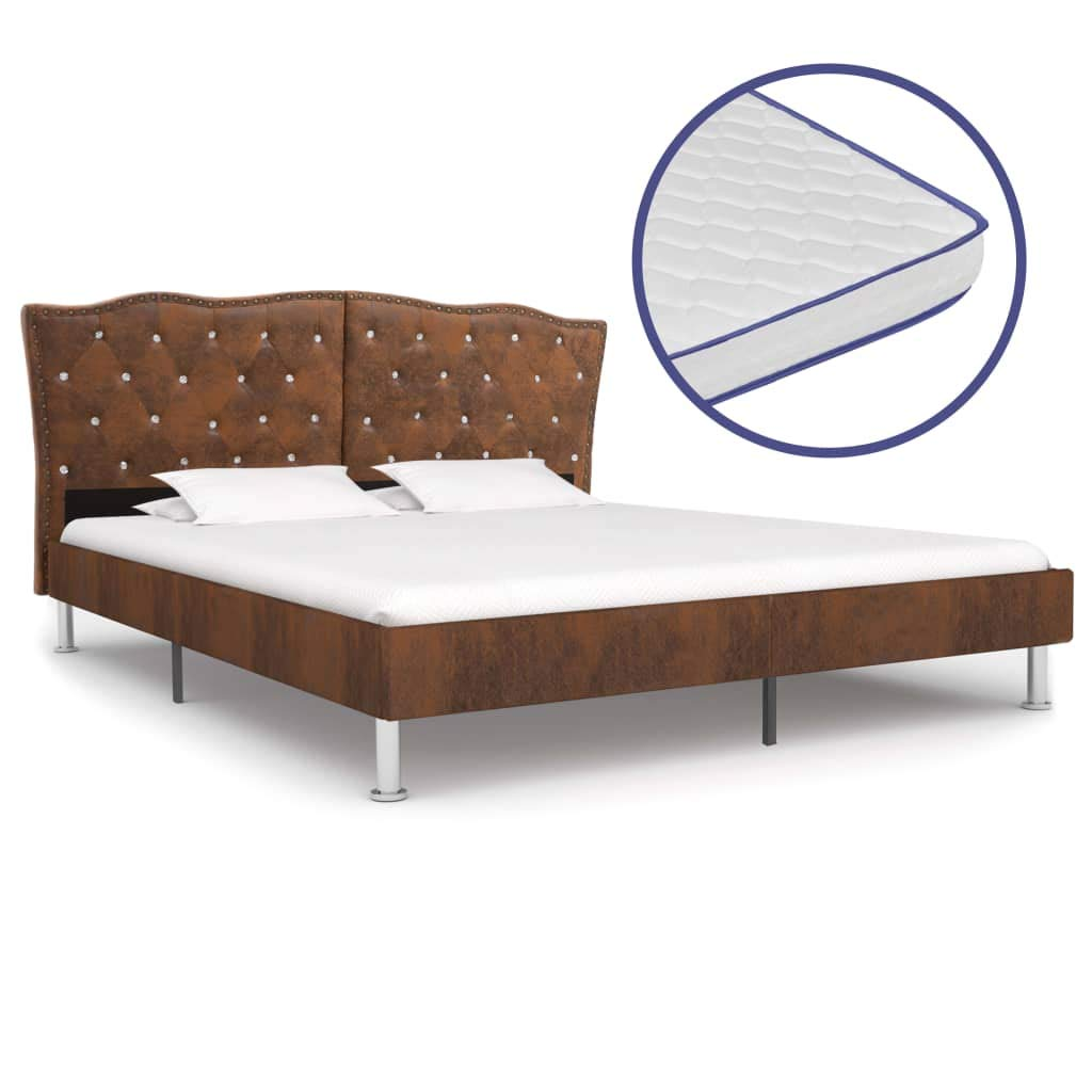vidaXL Bett mit Memory-Schaum-Matratze Polsterbett Doppelbett Stoffbett Schlafzimmerbett Bettgestell Bettrahmen Lattenrost Braun Stoff 180x200cm