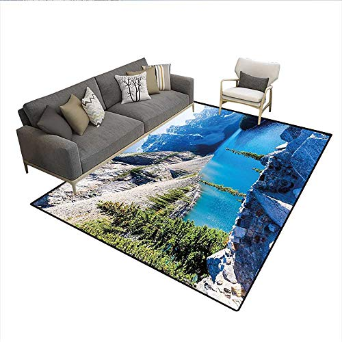 Carpet,Moraine Lake Banff National Park Canada Mountains Pines Valley of The Ten Peaks,Non Slip Rug Pad,Blue Green Grey 6'6