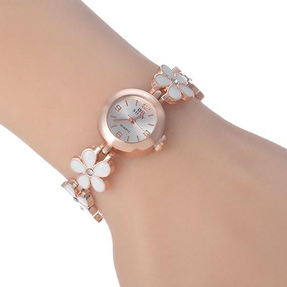 SSITG Rose Gold – Reloj de pulsera para mujer reloj de pulsera brazalete acero inoxidable flores