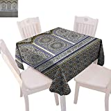 60 Inch Square Ottoman BlountDecor Arabian Stain Resistant Wrinkle Tablecloth Nostalgic Moroccan Architecture Stone Carving and Motifs Majestic Ottoman Empire Square Wrinkle Resistant Tablecloth 60