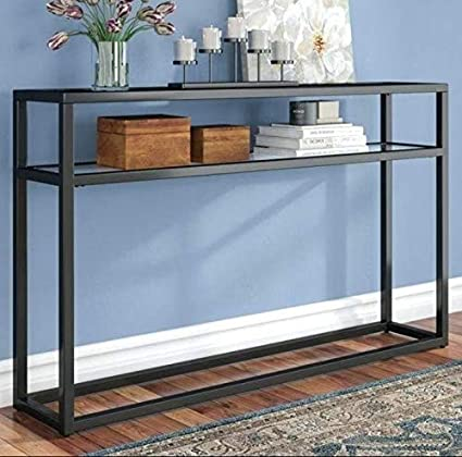 brand new 7ac12 503a7 Red Wood Wrought Iron Console Table for Home- Black