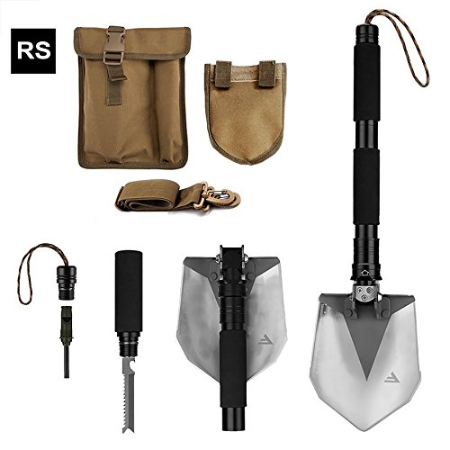 FiveJoy Military Folding Shovel Multitool (RS) - Tactical Entrenching Tool w/ Case for Camping Backpacking Hiking Car Snow - Heavy Duty, Multifunctional, Portable, Compact Emergency Kit Survival Gear (Backcountry Gear)