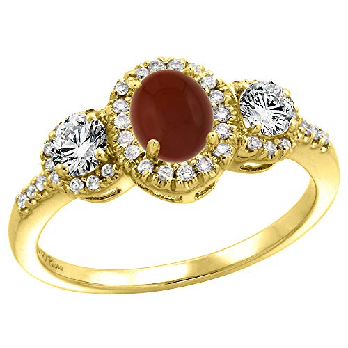 (14k Yellow Gold Diamond Genuine Brown Agate Halo Engagement Ring Oval 7x5mm, size 7.5 )