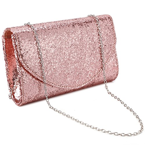 Anladia Womens Shiny Glitter PU Clutch Bag Bridal Wedding Evening Handbag Envelope Purse Rose Gold