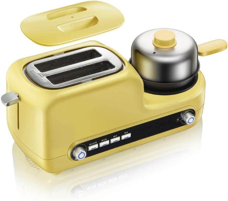 ZTGL 3-in-1 Multifunctional Toaster with Egg Cooker and Mini Nonstick Griddle, 2 Extra-Large Slots, 6 Browning Levels, 1080 W, Yellow