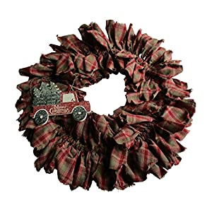 From The Attic Crafts Red Truck and Christmas Tree Rag Wreath 20