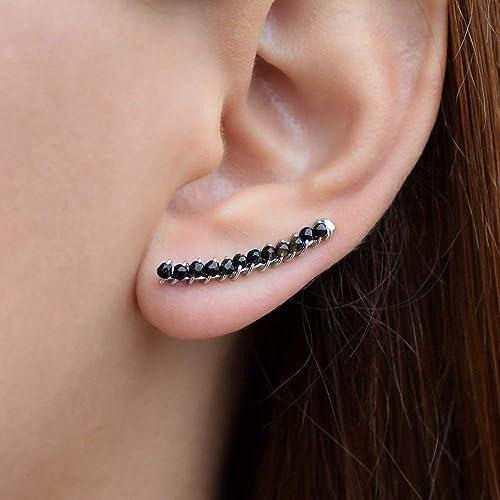 couleurs et frappant luxe top design Bague d'oreille noire, Grimpeurs d'oreille noirs, boucles d ...