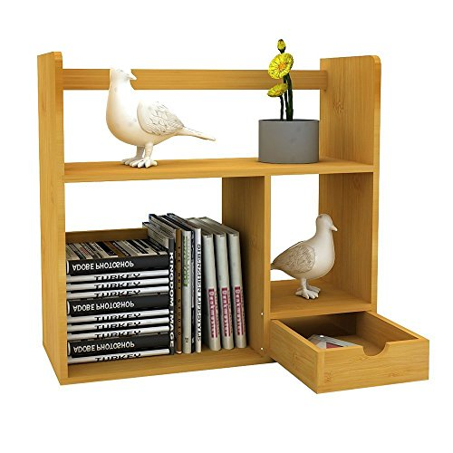 Double Wooden Bookcase (LIMAM Versatile Tabletop Book Rack Desktop Bookshelves Natural Nan Bamboo Wood Freestanding Book Shelf Storage Station Office Bookshelf For Books Magazine And More(Double -Deck and Two Drawer))