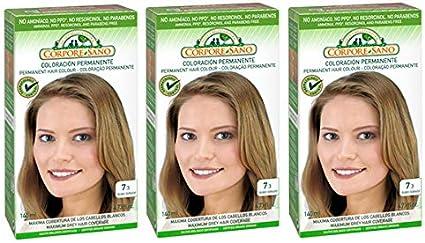 Corpore Sano Pack x3 Unidades Tinte Rubio Dorado 7.3 Permanente 140ml - Tinte de coloración sin amoníaco, resorcinol ni parabenos. Los champús ...