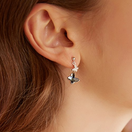 Sterling Silver Blue Butterfly Earrings, T400 Drop Stud Earrings Made with Swarovski Element Crystals Gift by T400 (Image #2)