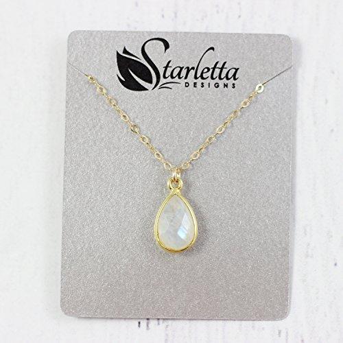 Rainbow Moonstone Yellow Gold Gemstone Bridal Necklace - 18