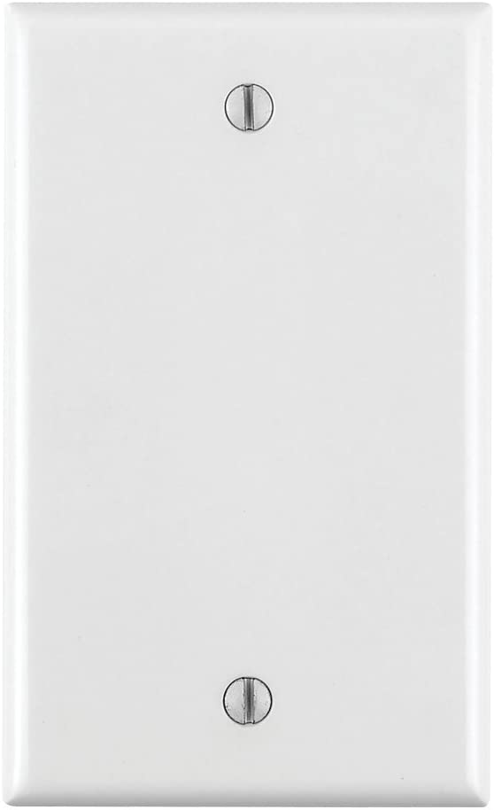 Leviton 80714-W 1-Gang No Device Blank Wallplate, Standard Size, Thermoplastic Nylon, Box Mount, 25-Pack, White, 25 Piece