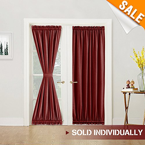 Privacy French Door Curtain Panel with Single Tie Back Thermal Insulated Flax French Door Panel Curtain 72 Inches Long, Burgundy, 1 Panel (72 Door Curtains French)