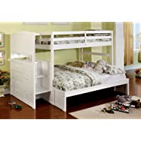 Furniture of America Sammy Bunk Bed with 3-Drawers, Twin-Over-Full, White