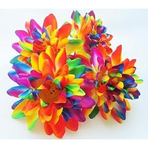 "(4) Rainbow Silk Dahlia Flower Heads - 4"" - Artificial Flowers Dahlias Head Fabric Floral Supplies Wholesale Lot for Wedding Flowers Accessories Make Bridal Hair Clips Headbands Dress 95"