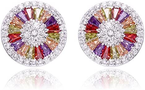 Luxury Halo Colorful Cubic Zirconia Diamonds Pave Round Stud Earrings For Lady
