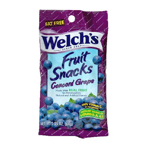Welch's Fruit Snacks, Concord Grape, 2.25-Ounce Pouches (Pack of 48)
