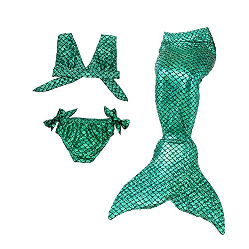 Dressy Daisy Girls' 3pcs Mermaid Tail Swimwear Mermaid Swimsuit Bathing Suit Bikini Costume Dress Size 4 Green A