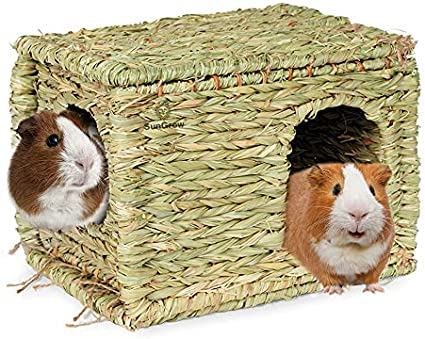 JanYoo Guinea Pig Bed Hedgehog House Pad Bed Toy Cage Accessories Wooden Detachable Frame