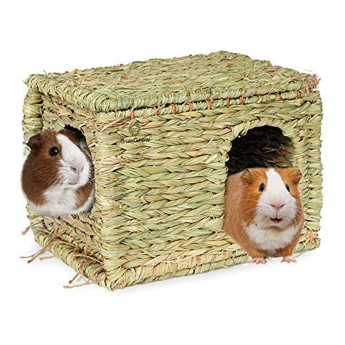 Guinea Pig Grass House – Woven Straw Hut for Sleeping & Playing – Foldable, Stackable & Portable – Provides Security & Comfort to Small Animals – Edible & Chewable Home with Double Openings