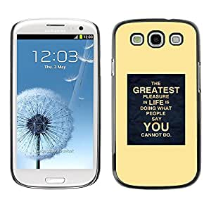 Cartel amarillo Inspiring Usted vida en movimiento- Metal de aluminio y de plástico duro Caja del teléfono - Negro - Samsung Galaxy S3