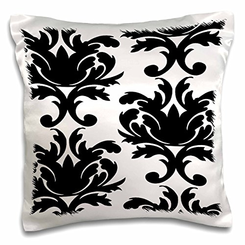 3dRose Large Elegant Black And White Damask Pattern Design - Pillow Case, 16 by 16-inch (pc_116425_1)