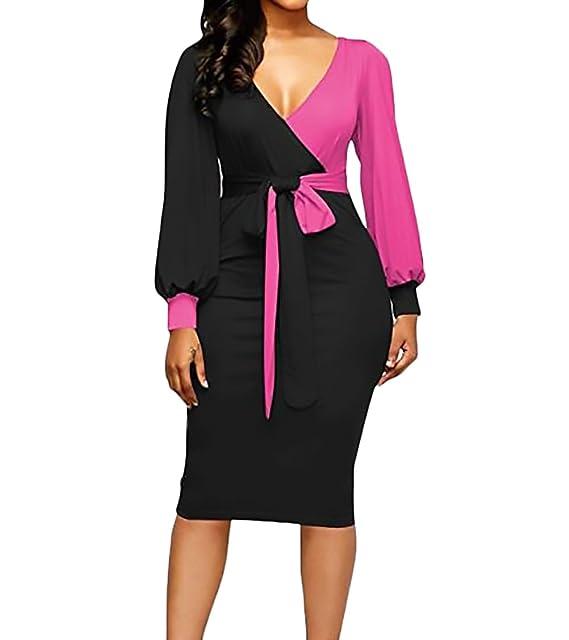 Vestidos Mujer Elegante Primavera Otoño Manga Larga V Cuello Slim Fit Encima Rodilla Vestido Bicolor Cinturón Moda Casual Mujeres Coctel Dress: Amazon.es: ...