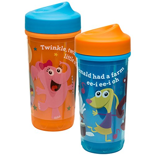 Flow Breakfast Cup (Zak! Designs Baby Genius Toddler Perfect Flo Sippy Cup with Independent Doer Graphics, Double Wall Insulated Tumbler and Adjustable Flow Valve, Leak Proof, BPA-Free Plastic 8.7 oz (Set of 2))