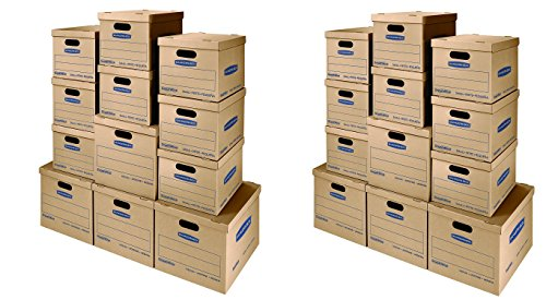 Bankers Box SmoothMove Classic Moving Boxes Kit, Tape-Free Assembly, Small/Med, 12 Pack (7716401) (2 X 12 (Kit Case 2 Tapes)