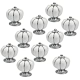 10Pcs White Round Ceramic Pumpkin Cabinet and Furniture Knobs Pulls Chrome Finished Base Drawer Handles Door Hardware Knob