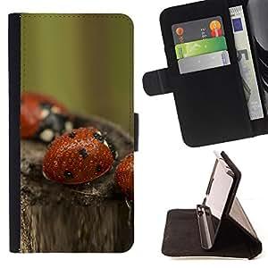 - bozhi korovki kapli boke - - Monedero PU titular de la tarjeta de cr????dito de cuero cubierta de la caja de la bolsa FOR HTC One M9 RetroCandy